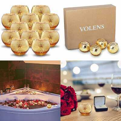 Round GOLD Votive Candle Holders Mercury Glass Tealight Holder Set Of 12 CANDLES