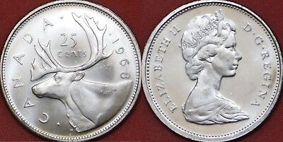 Brilliant Uncirculated 1968 Canada Silver 25 Cents From Mint's Roll
