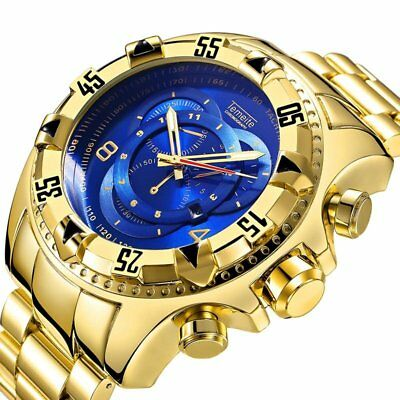 Fashion Mens Big Dial Luxury Gold Blue Full Steel Quartz Waterproof Wrist Watch