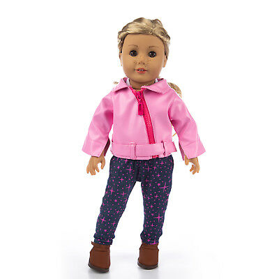 3pcs Leather Doll Clothes Coat Outfits Pant Shirt For America 18 inch Girl Dolls