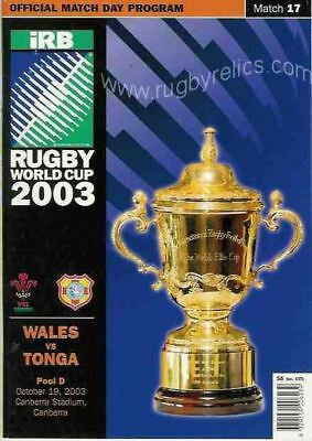 TONGA v WALES RUGBY WORLD CUP 2003 PROGRAMME MATCH No 17 VERY GOOD CONDITION