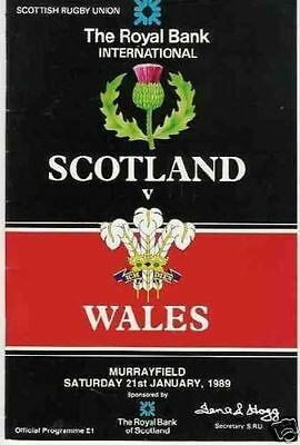 SCOTLAND v WALES 1989 RUGBY PROGRAMME FIVE NATIONS AT MURRAYFIELD