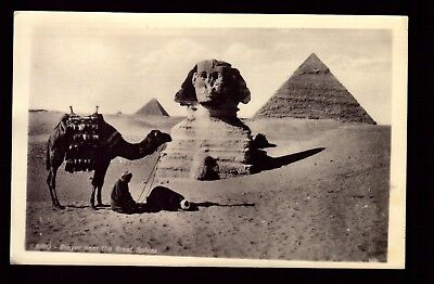 Postcard : Africa - Egypt - Cairo Rppc Praying Near The Great Sphinx Real Photo