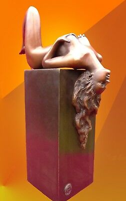 Art Deco Bronze Female Naked Statue Figure Hot Cast Girl Sculpture