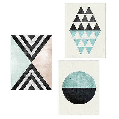 3x Unframed Abstract Geometry Canvas Painting Picture Wall Art Poster Decor