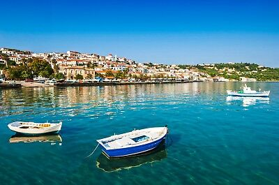 Greece Warm Sea Boats Greek Summer Holiday Town Canvas Pictures Wall Art Prints