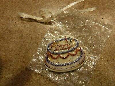 Longaberger Pottery 2005 - 2006 Ceramic HAPPY BIRTHDAY CAKE TIE-ON Tie On