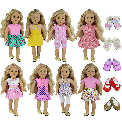 8Sets Doll Clothes for America 18 inch Girl Dress Skirt  Outfits +2 pairs Shoes