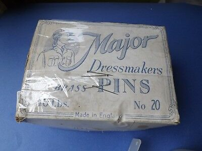 """Vintage 10 Pound Box DRESSMAKERS No. 20 Brass Pins Made In England 1.25"""" Long"""
