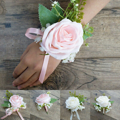 Flower Rose Corsage Groom Best Man Boutonniere Prom Wedding Party Decoration