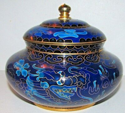 Chinese Cloisonne Royal Blue Turquoise Double Dragon Flaming Pearl Covered Jar