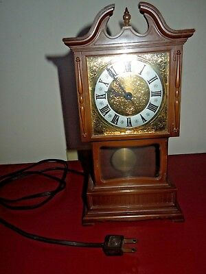 "VTG Mini Electric Grandfather Clock By Sunbeam Plastic Walnut Wood 10.5"" WORKS!!"