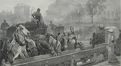 1876 Two Engravings - Watering Horses- Two Horses at Rail Crossing - J. Charlton
