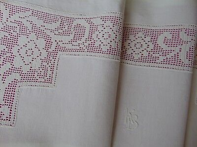 ANTIQUE VINTAGE COTTON HAND CROCHET LACE INSET KB MONOGRAM PILLOWCASE 76X67cms