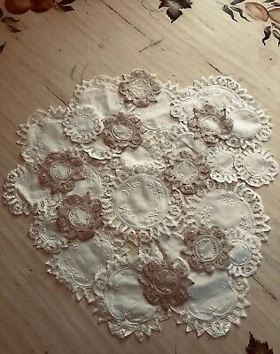 "lot of 12 Beautiful Doilies 4""-6""-8"" White & Natural Vintage Wedding Party NEW"