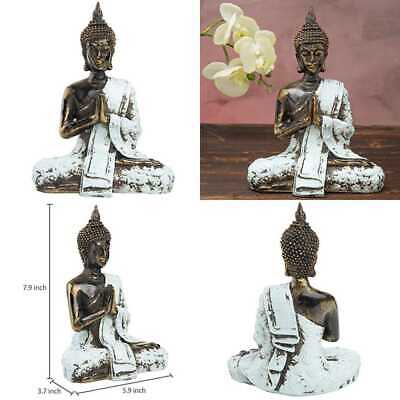 "7"" Bronze Resin Praying Meditating Thai Buddha Statue W Rustic BLUE Attire Asian"