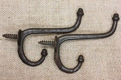 2 coat hooks screw in old school farm house rustic 1880's vintage iron antique