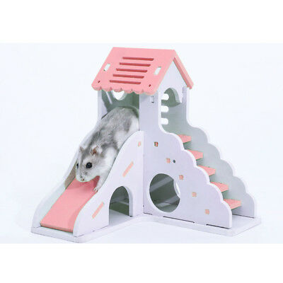 2 Pcs Small Animal Hideout Hamster House Two Layers Wooden Bed Play Toy