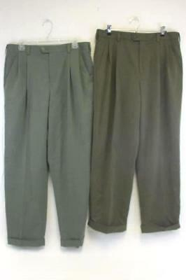 Lot of Two Men's Izod Dress Pants Size 34/40 Light and Dark Olive Green