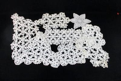 Lot Of 9 Vintage Handmade Crochet Doilies Flower Various Shapes Sizes White