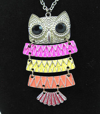 Articulated OWL Pendant NECKLACE Vintage ENAMEL Silvertone PINK Yellow ORANGE