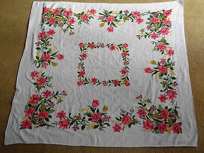 Vintage White Terry Cloth Tablecloth Pink Yellow Flowers 45 x 50