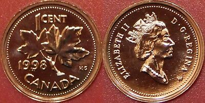 Proof Like 1998W Canada 1 Cent From Mint's Set