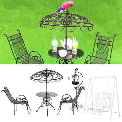 1/12 Doll House Miniature Garden Furniture Metal Table Chairs Birdcage Black