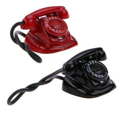 Doll House Miniature Vintage Desk Telephone Model Red Black with Rotary Dial