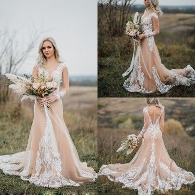 CHAMPAGNE IVORY WEDDING Dresses Long Sleeves Plus Size 0 4 6 ...