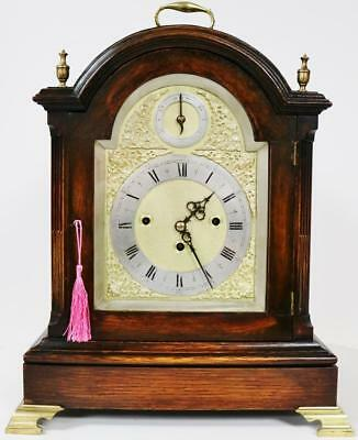 Antique W & H 8 Day Carved Oak & Brass Triple Fusee Musical 5 Gong Bracket Clock
