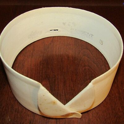 2 Stiff 1920's Starched Shirt Collars With Beautiful Leather Round Collar Case