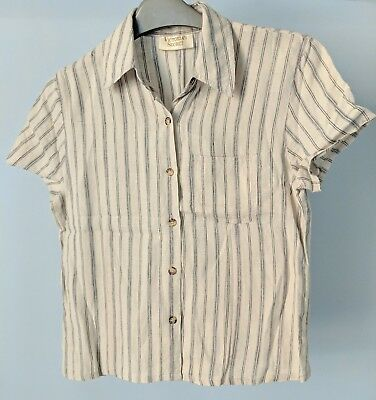 Victoria's Secret Women's Vintage Beige Blue Stripes Silk Blouse Shirt Top SizeS