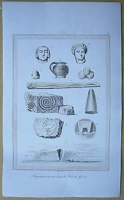 1848 print MALTA: FRAGMENTS FOUND AT TOWER OF GIANTS, ISLAND OF GOZO (#27)