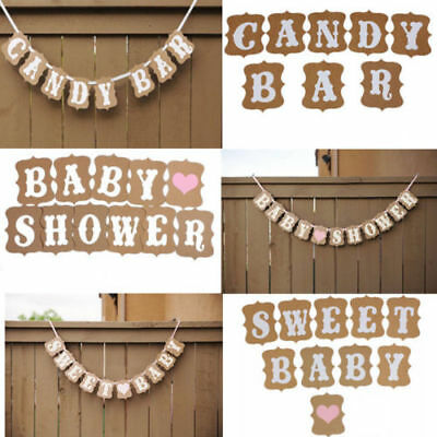 Baby Shower Personalised Rustic Bunting Banner Garland Party Decoration Boy Girl
