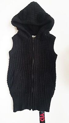 PRIMARK YD  Girls Chunky Knit BLACK Zip Hooded Vest Jacket Cardigan Top 7-8y £14
