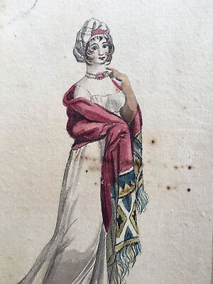 Original Watercolour Copy Costume Parisien Regency Fashion Hand Written Comment!