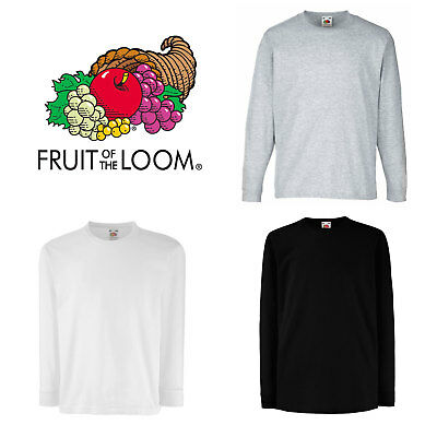 Top a Manica Lunga Bambino Fruit of the Loom Kids Valueweight