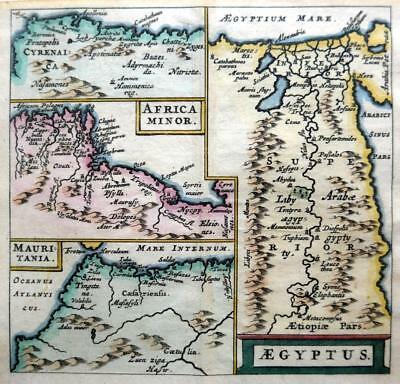 EGYPT NORTH AFRICA   BY CLUVER / BERTIUS c1661 GENUINE 350 YEAR OLD ANTIQUE MAP