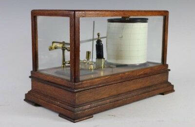 Antique SHORT & MASON Tycos BAROGRAPH Mahogany Scientific Barometer Working