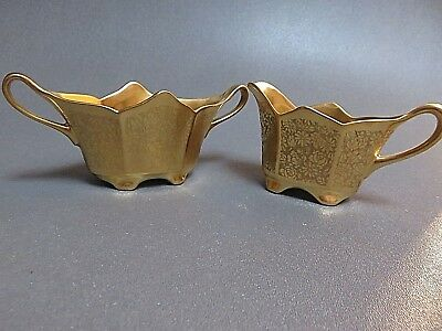 Pickard gold rose and daisy unusual cream and open sugar bowl scalloped pointed