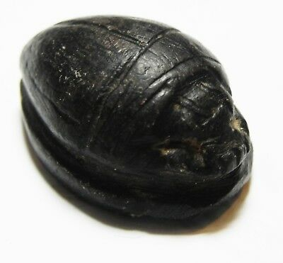 Zurqieh -As10260- Ancient Egypt, Black Stone Scarab. New Kingdom. 1300 B.c