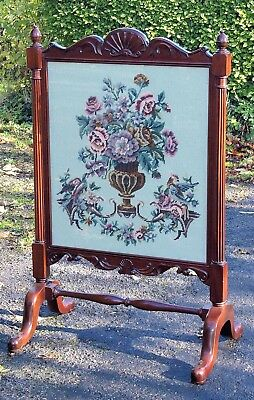 Large Mahogany Country House Fire Screen With Woolwork Panel Under Glass