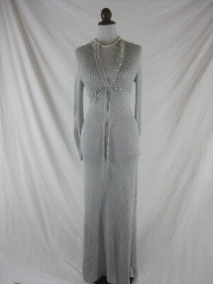Vtg 60s 70s Silver Lame Womens Vintage BOMBSHELL Long Evening Gown Party Dress