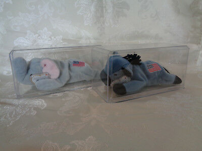 Ty Beanie Babies Lefty the Donkey and Righty the Elephant - Mint