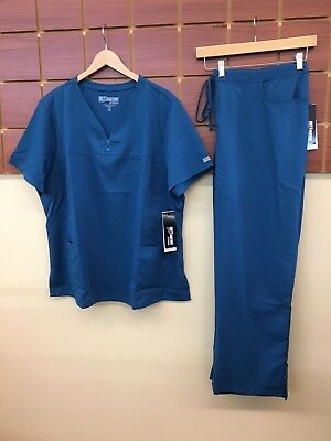 NEW Grey's Anatomy Caribbean Blue Solid Scrubs Set With 3XL Top & 3XL Pants NWT