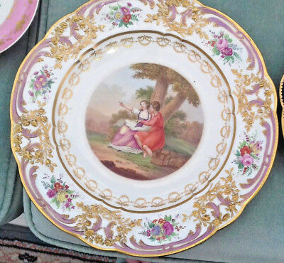 Rare Limoges French Hp Sevres Porcelain 18Thc Plate Grellet Brothers 1784-1793