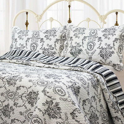 FRENCH COUNTRY BLACK TOILE Full Queen QUILT SET :SHABBY FLORAL COTTAGE MEDALLION