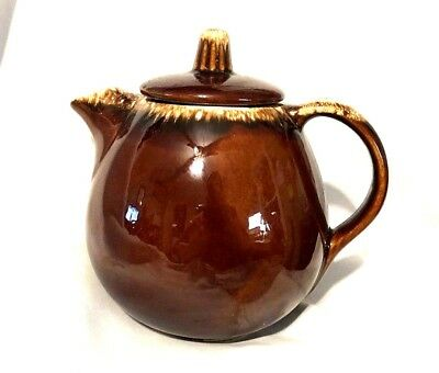 Vintage HP & Co Oven Proof USA Brown Drip Teapot