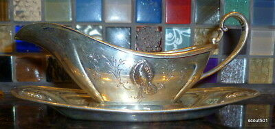 Antique RW&S Wallace Sterling Silver Peacock Pattern Gravy Boat W Saucer